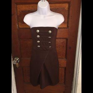 Avital Brown Strapless Dress